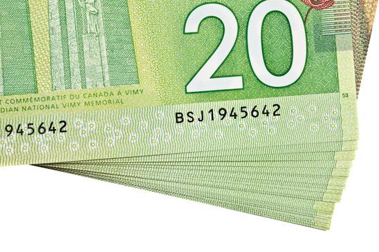 Ottawa, Canada, Avril 13, 2013,  The New Polymer Twenty Dollar Bills Detail
